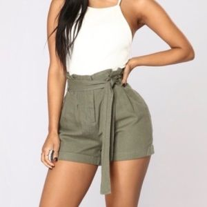 Fashion Nova Olive 'Rays of Sunshine' Linen Shorts